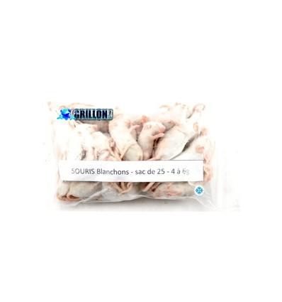 Souris congelées blanchons 5 à 6g en sac de 25
