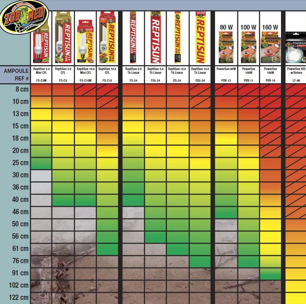 Tableau d'utilisation des lampes chauffantes pour reptiles en terrarium